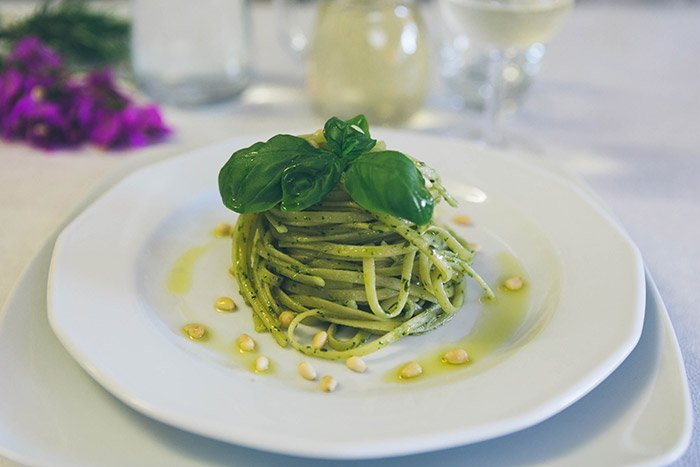 spaghetti al piatto pesto liliana